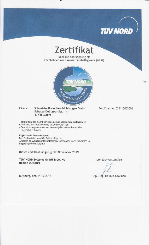 Bodenbeschichtung WHG §19 - Schneider Bodenbeschichtungen GmbH